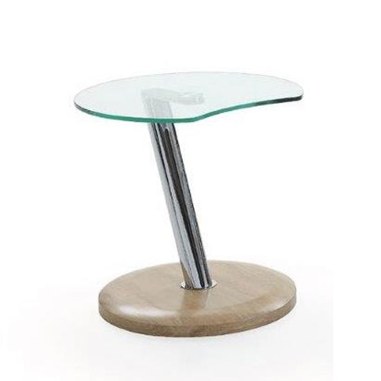 Boston Glass Top End Table In Clear With Oak Matt Base