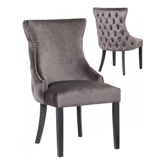 Boston Grey Velvet Dining Chairs In Pair