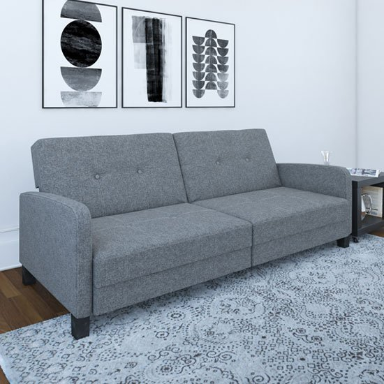 Boston Linen Sofa Bed In Grey