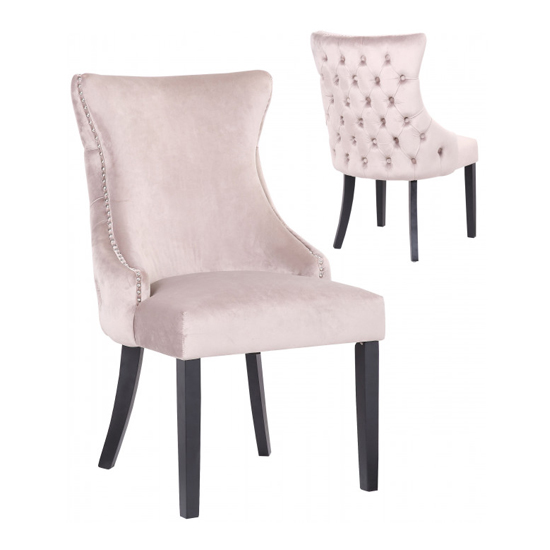Boston Taupe Velvet Dining Chairs In Pair