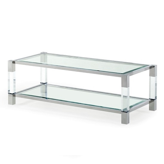 Boston Coffee Table In Clear Glass And Polished Stainless Steel