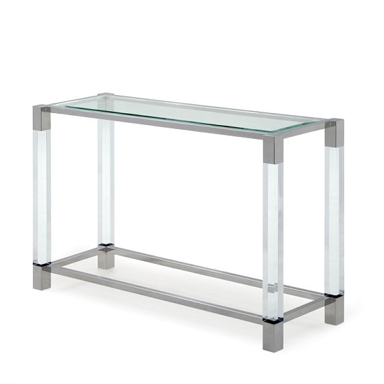 Boston Console Table In Clear Glass And Polished Stainless Steel