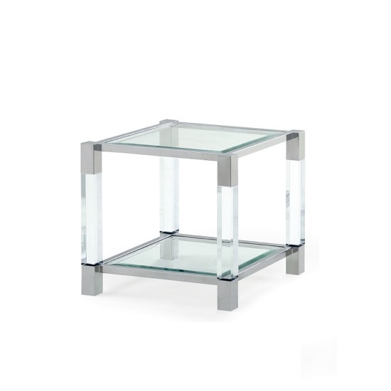 Boston End Table In Clear Glass And Polished Stainless Steel
