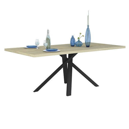 Boswell Wooden Dining Table In Oak With Black Metal Base