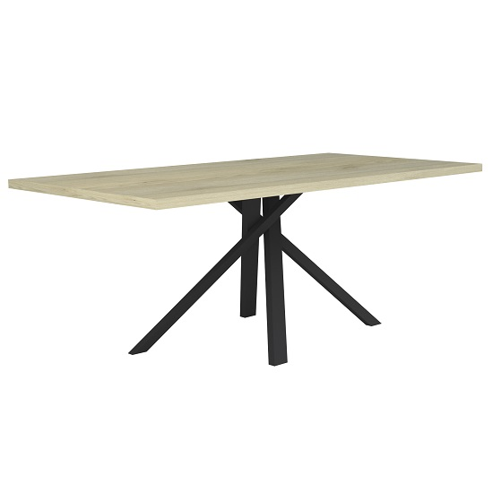 Boswell Wooden Dining Table In Oak With Black Metal Base_2
