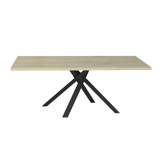 Boswell Wooden Dining Table In Oak With Black Metal Base_3