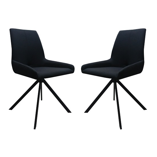 Boswell Fabric Dining Chairs In Black In A Pair