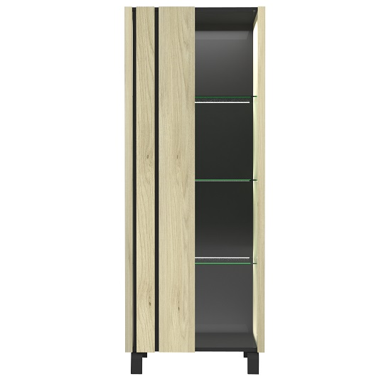 Boswell Glass Display Cabinet In Oak With LED Lighting_4