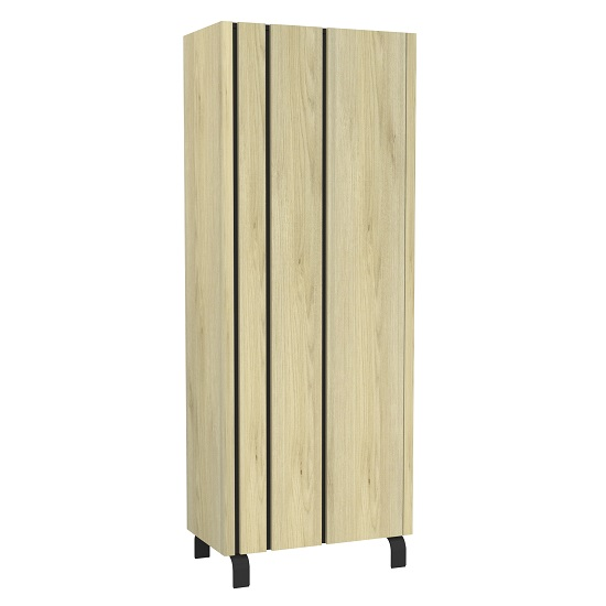 Boswell Wooden Highboard In Oak With Black Metal Base_1