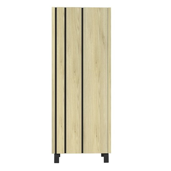 Boswell Wooden Highboard In Oak With Black Metal Base_2