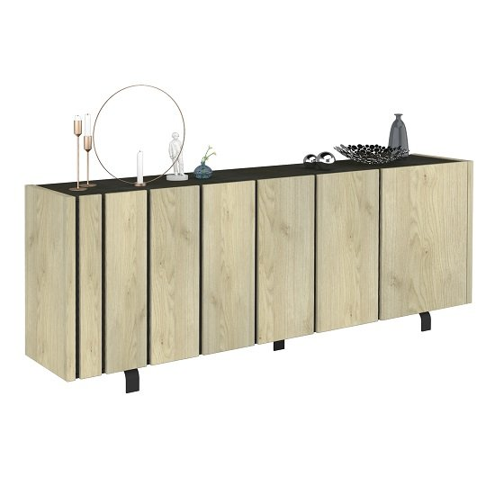 Boswell Wooden Sideboard In Oak Finish With Four Doors