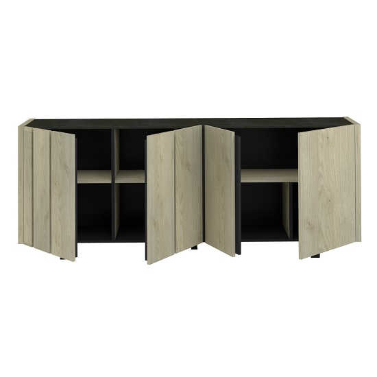 Boswell Wooden Sideboard In Oak Finish With Four Doors_4