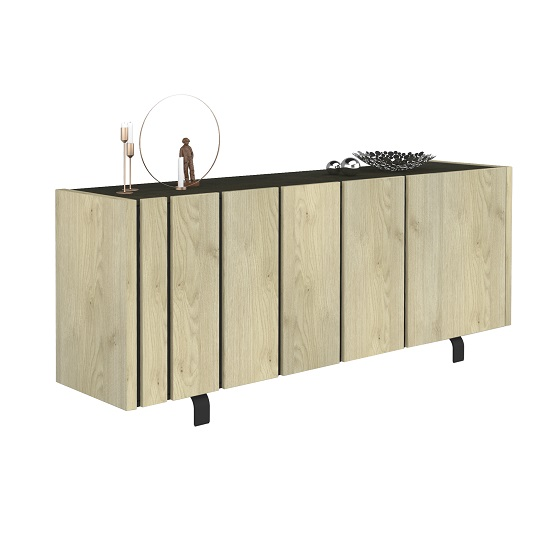 Boswell Wooden Sideboard In Oak Finish With Three Doors