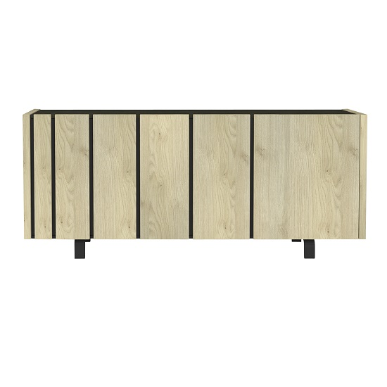Boswell Wooden Sideboard In Oak Finish With Three Doors_3