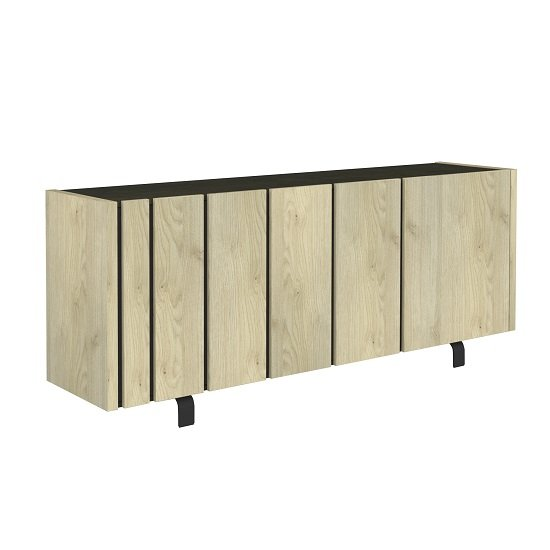 Boswell Wooden Sideboard In Oak Finish With Three Doors_2
