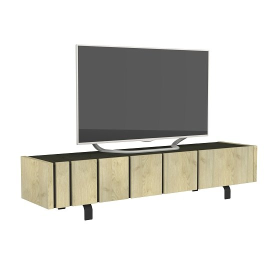 Boswell Wooden TV Stand In Oak Finish With Two Doors