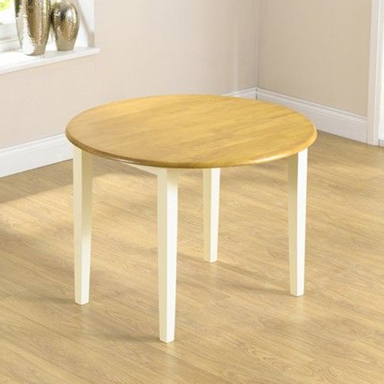 Botein Wooden Drop Leaf Extending Dining Table In Oak And Cream