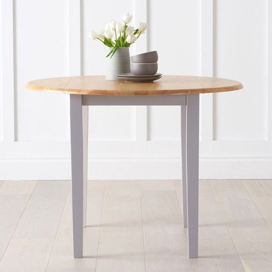 Botain Wooden Drop Leaf Extending Dining Table In Oak And Grey