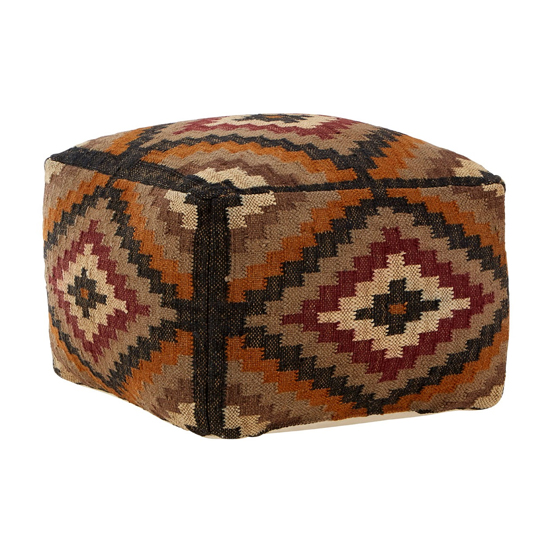 Botin Fabric Upholstred Aztec Pouffe In Multi-Colour