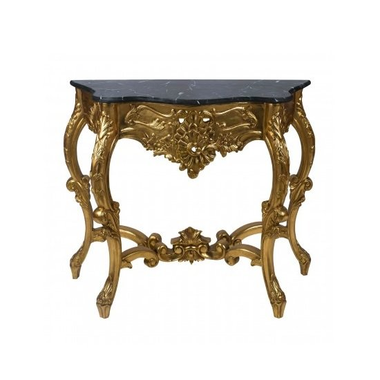 Boule Rectangular Marble Console Table With Gold Frame
