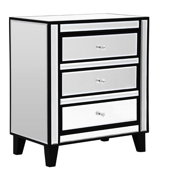 Boulejo Mirrored Chest Of Drawers With Black Wooden Legs