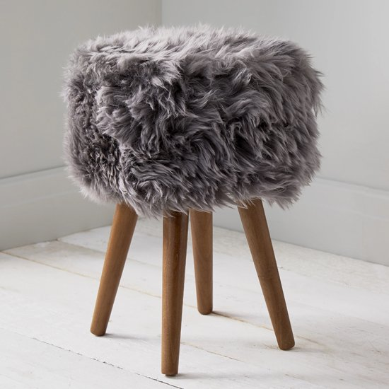 View Bovril sheepskin stool in grey with solid oak legs