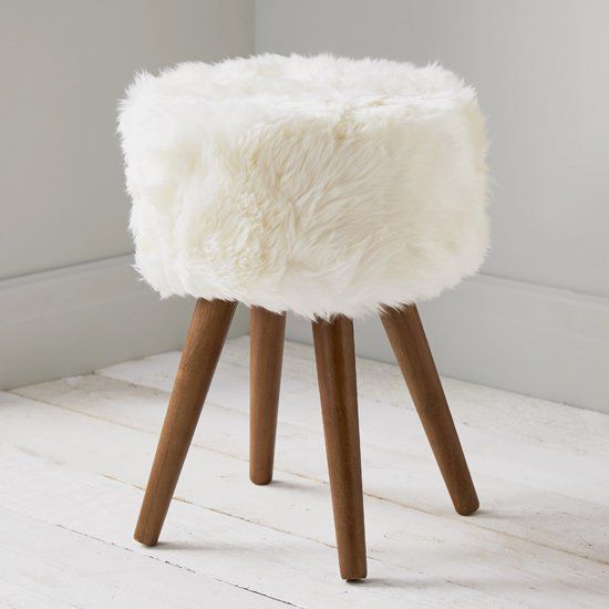 View Bovril sheepskin stool in natural with solid oak legs