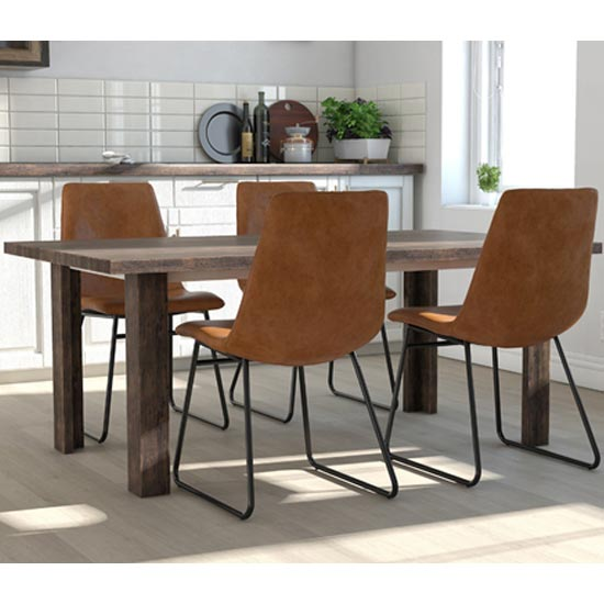 Bowden Caramel Maple Faux Leather Dining Chairs In Pair_3