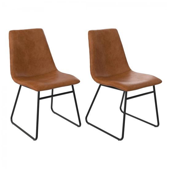 Bowden Caramel Maple Faux Leather Dining Chairs In Pair_1