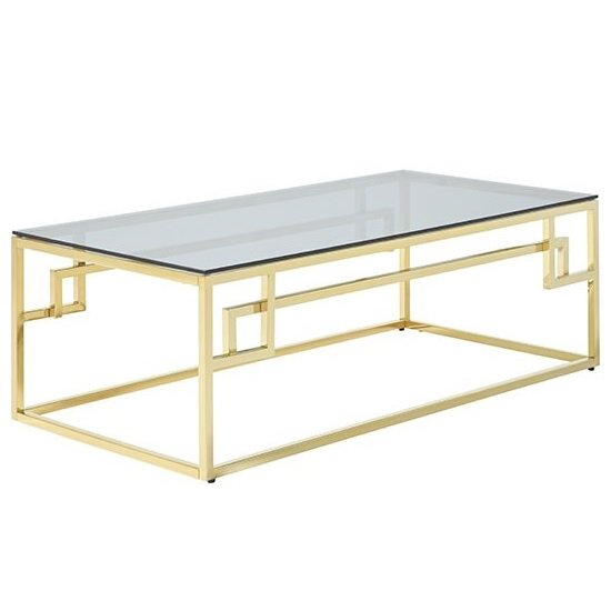 Bowden Glass Coffee Table Rectangular In Smoked With Gold Frame