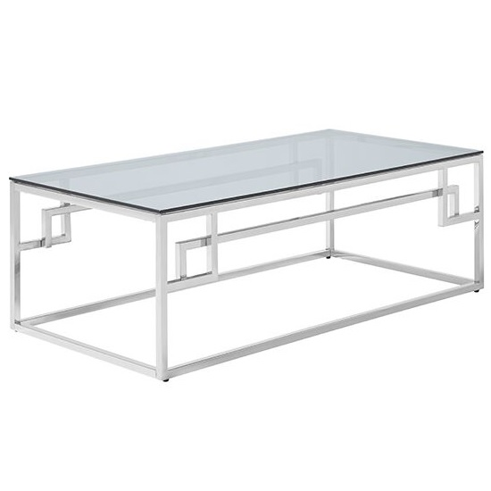 Bowden Glass Coffee Table Rectangular In Smoked And Silver Frame