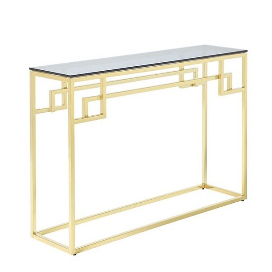 Bowden Glass Console Table Rectangular In Smoked With Gold Frame