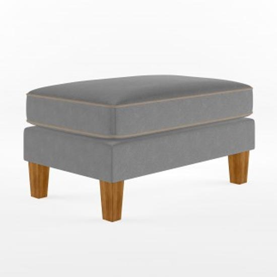 Bowen Fabric Ottoman with Contrast Welting In Linen Grey