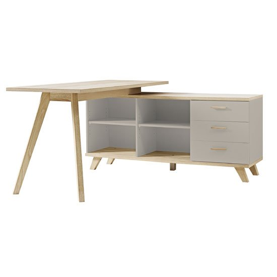 Bowen Rotating Corner Computer Desk In Stone Grey And Oak