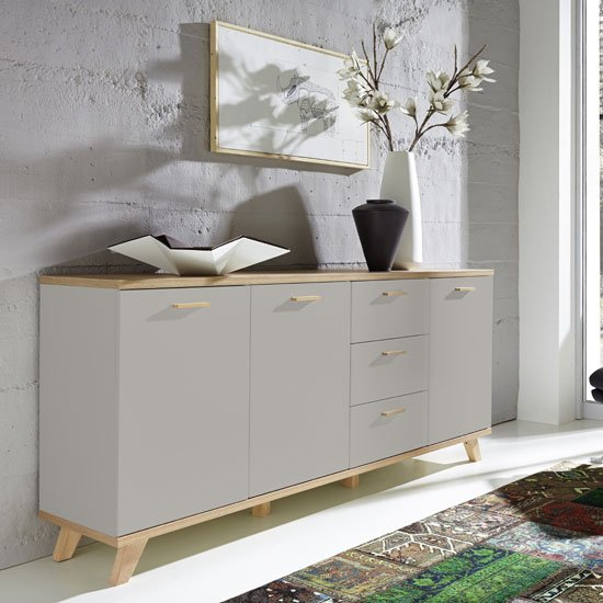Bowen Large Sideboard In Stone Grey And Oak With 3 Doors_1