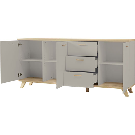 Bowen Large Sideboard In Stone Grey And Oak With 3 Doors_3