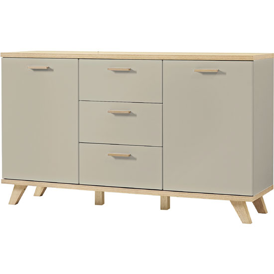 Bowen Sideboard In Stone Grey And Oak With 2 Doors And 3 Drawers_3