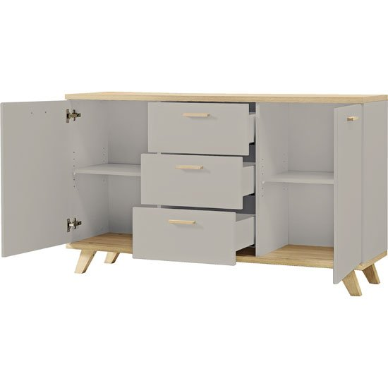 Bowen Sideboard In Stone Grey And Oak With 2 Doors And 3 Drawers_2