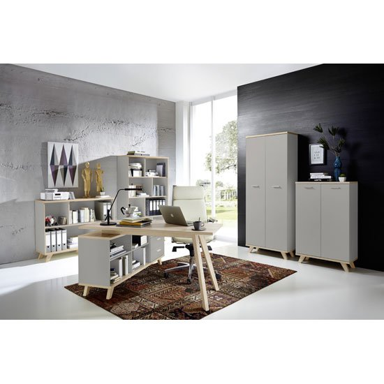 Bowen Shelving Unit In Stone Grey And Oak With 4 Shelf_3