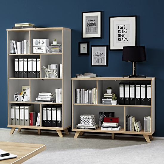 Bowen Shelving Unit In Stone Grey And Oak With 4 Shelf_2