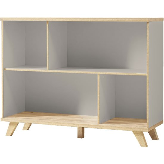 Bowen Shelving Unit In Stone Grey And Oak With 4 Shelf_1
