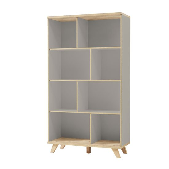 Bowen Tall Shelving Unit In Stone Grey And Oak With 8 Shelf
