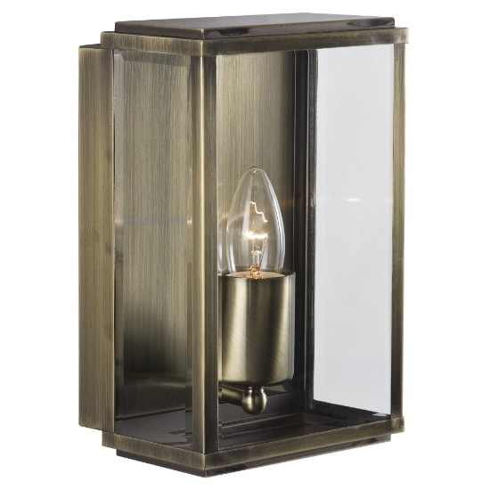 Porch Light Box: Box Outdoor Wall Light In Antique Brass With Bevelled Glass