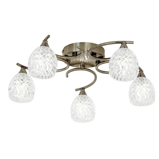 Boyer 5 Ceiling Lamp In Antique Brass