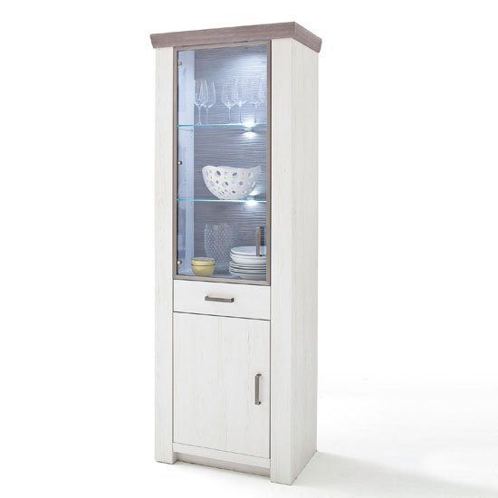 Bozen LED 2 Door Display Cabinet In Pine And White With 1 Drawer
