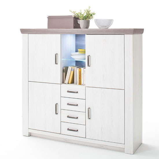 Bozen LED Highboard In Pine And White With 4 Doors 4 Drawers