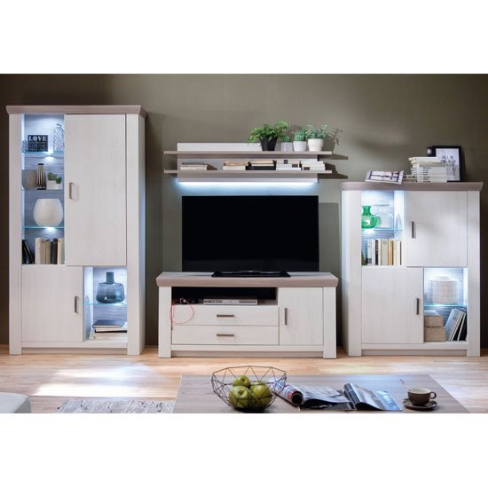 Bozen LED Living Room Set In Pine And White With Display Cabinet