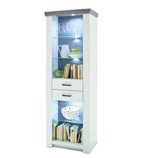Bozen LED Wooden Display Cabinet In Pine And White With 2 Drawer