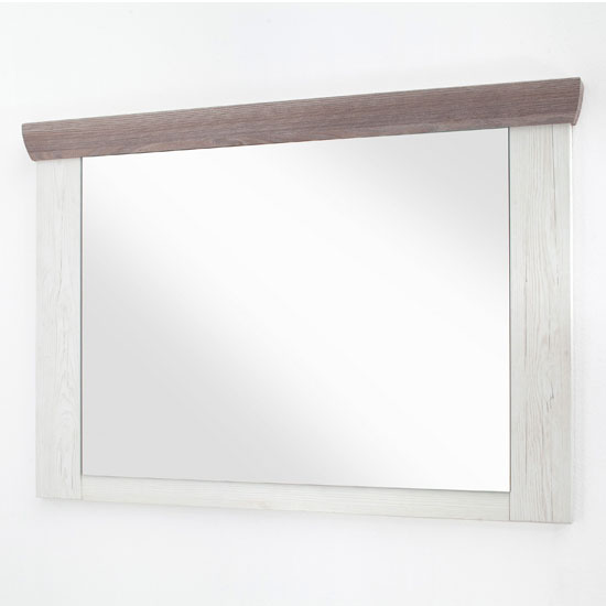 Bozen Wide Wall Bedroom Mirror In Pine And White Frame