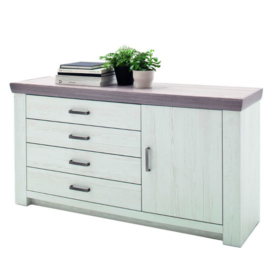 Bozen Wooden 1 Door Sideboard In Pine And White With 4 Drawers